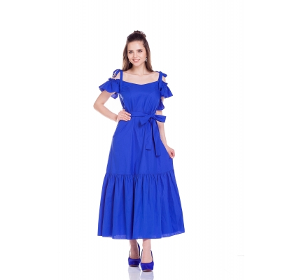 Платье синее с воланами под пояс