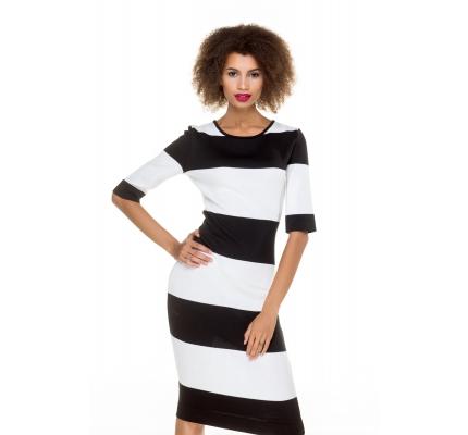 Платье черно-белые полосы