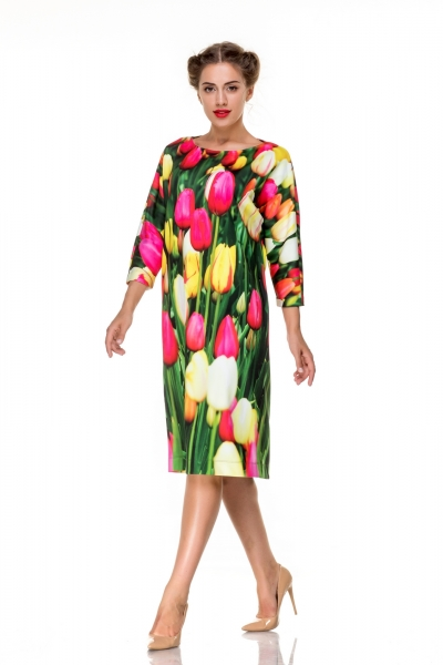 Dress straight with tulips  - Фото