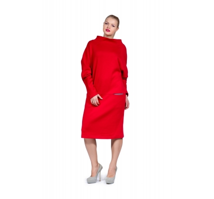 Dress red color with pockets