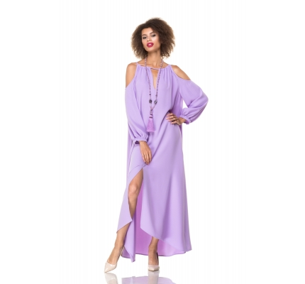 Dress lavender color with open shoulder