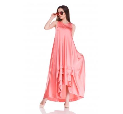 Платье с защипами персикового цвета