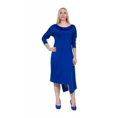 Платье синее с шелковой вставкой