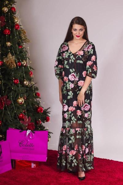 Платье черное сетка розы - Фото