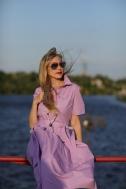 Платье трикотажное лилового цвета - Фото
