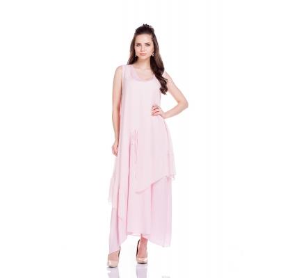 Платье двухслойное свободного кроя розового цвета
