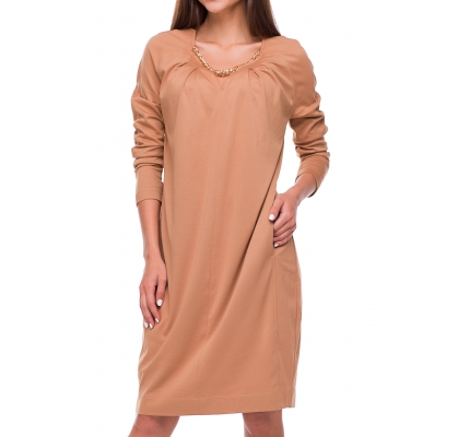 Beige dress with long sleeves