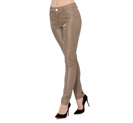 Pants made of eko-leather cappuccino