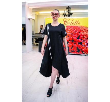 Длинное платье чёрное с белыми полосками