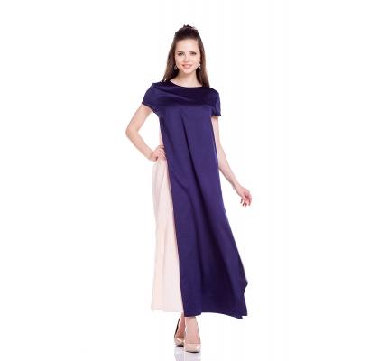 Платье двухслойное сине-пудровое