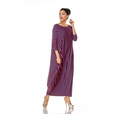 Dress asymmetric with raspberry strip
