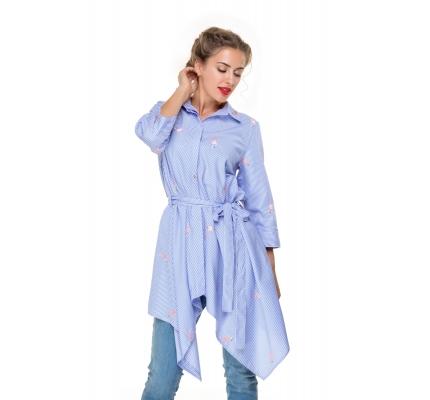 Рубашка принт фламинго