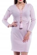 Платье розовое под пояс - Фото