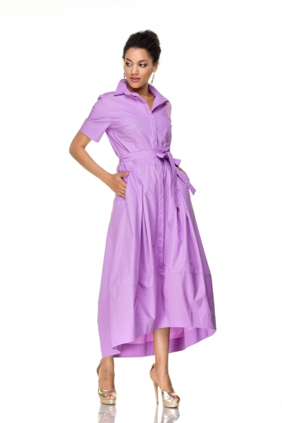Платье сиреневое на пуговицах - Фото