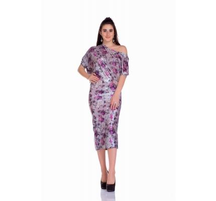 Платье ассиметричное цветочный принт