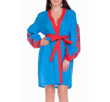 Платье-вышиванка синего цвета