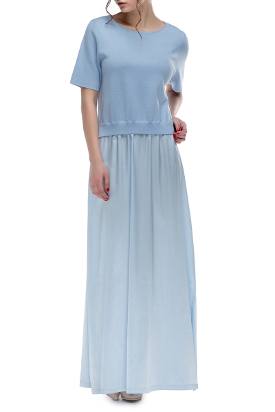 Dress is blue with silk skirt - Фото