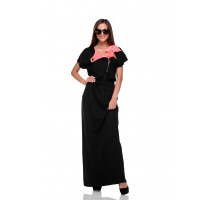 Платье черное с малиновым бантом