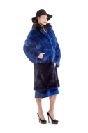 Fur coat dark blue color - Фото