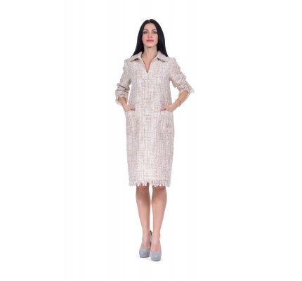 Dress beige color with lurex