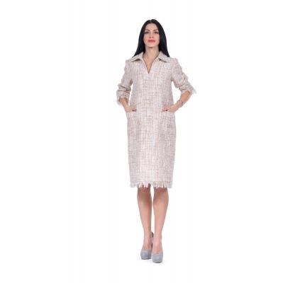 Платье бежевое рогожка с люрексом