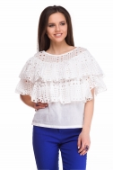 Blouse with flounces of white color - Фото