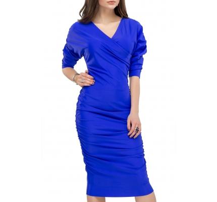 Платье драпировка синего цвета