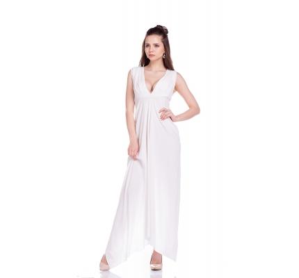 Сукня біла з вирізом