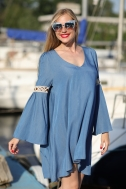 Платье свободного кроя синего цвета - Фото