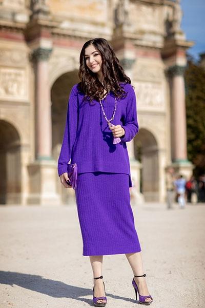 Костюм фиолетовый трикотаж - Фото