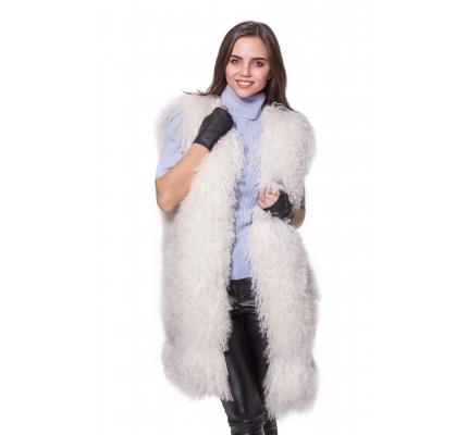 Vest white fur lama