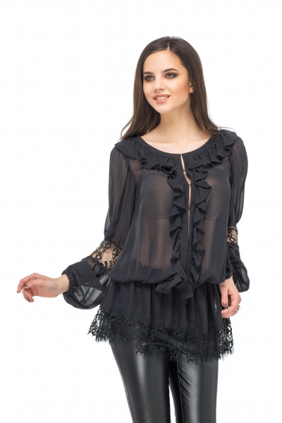 Blouse black with lace - Фото
