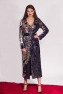 Платье пайетка с разрезом синее - Фото