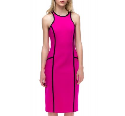 Платье розовое с черным кантом + болеро