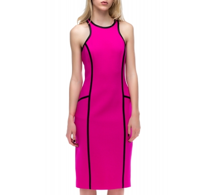 Сукня рожева з чорним кантом + болеро