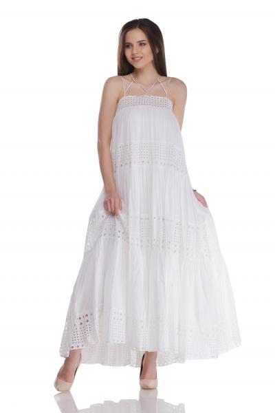 Сарафан с прошвой белого цвета - Фото