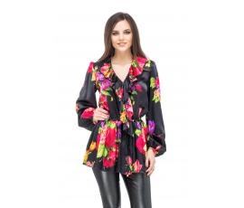 Блузка черная с цветочным принтом